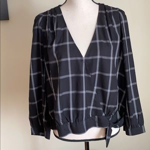 NWT Madewell Black&White blouse tied at the waist